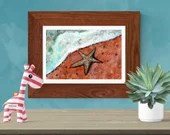 Starfish on a beach acrylic painting, Printable wall art, original artwork Print, gift idea, decor animal poster sea fish ocean wildlife
