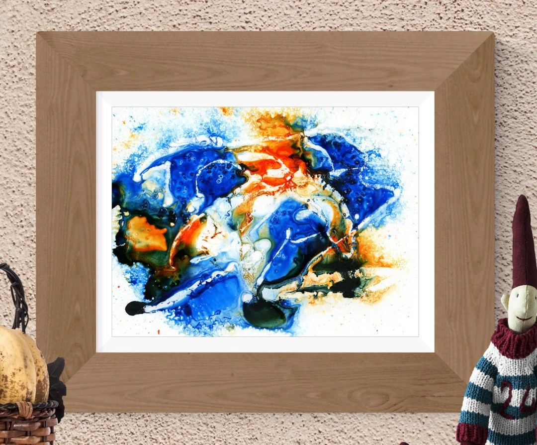 Orange blue abstract prin...
