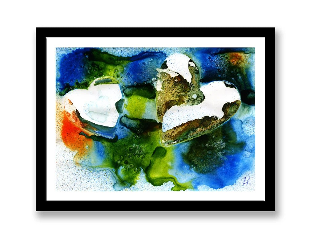 Two heart, Abstract print...