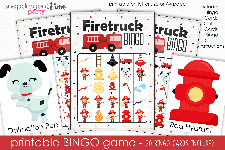 Firetruck Bingo Printable Party Game 30 Bingo Cards