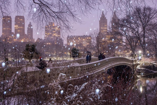 Bow Bridge in the Snow Central Park During the Winter at ...