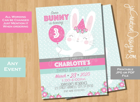 bunny invitations third birthday bunny 3rd birthday invitation some bunny turning three bunny birthday invitation girl three birthday invite