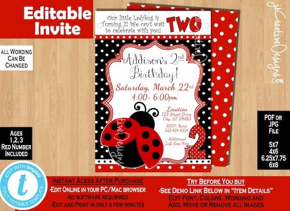 ladybug invite 2nd birthday invitation