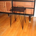 Mid Century Metal Side Table With Hairpin Legs Vintage 1950s
