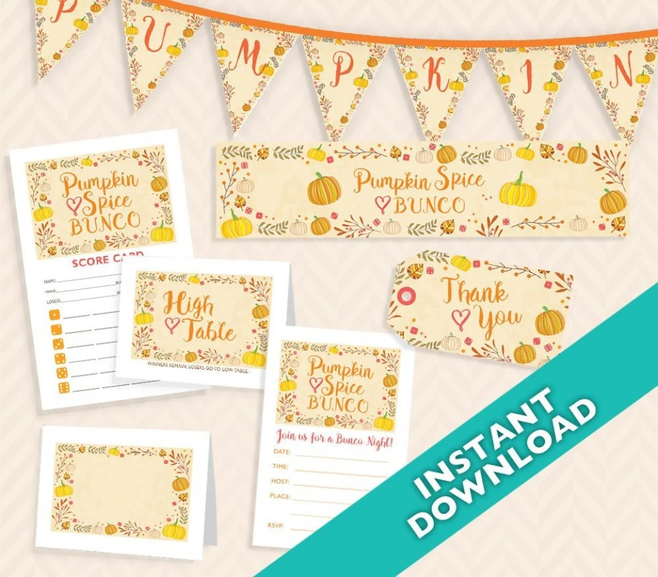 Pumpkin Spice Bunco Set - Fall Bunco Theme Deluxe printable bunco set, instant download