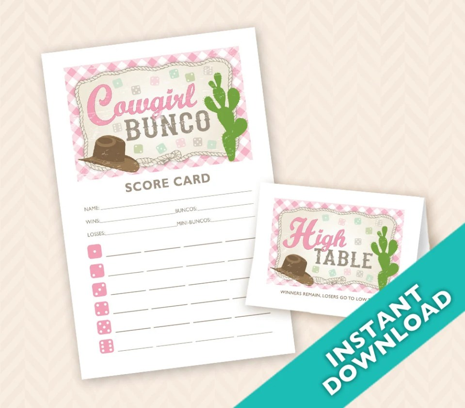 Downloadable  Cowgirl Bunco Printable Bunco Scorecard and Table Marker Set (a.k.a. Bunko, score card, score sheet)