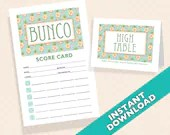 Pineapple Bunco Scorecard and Table Card Set - Designer Series - Pina Colada (a.k.a. Bunko, score card, score sheet)