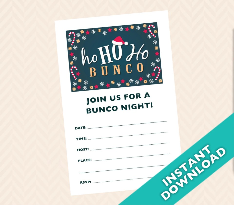 Christmas Bunco Invitation, December Santa Clause Bunco (a.k.a. Bunko, score card, score sheet)