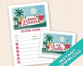 Printable Bunco Scorecard and Table Marker Set - Hawaiian Luau Tiki Theme (a.k.a. Bunko, score card, score sheet)