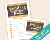 Downloadable Thanksgiving Printable Bunco Scorecard and Table Marker Set (a.k.a. Bunko, score card, score sheet)