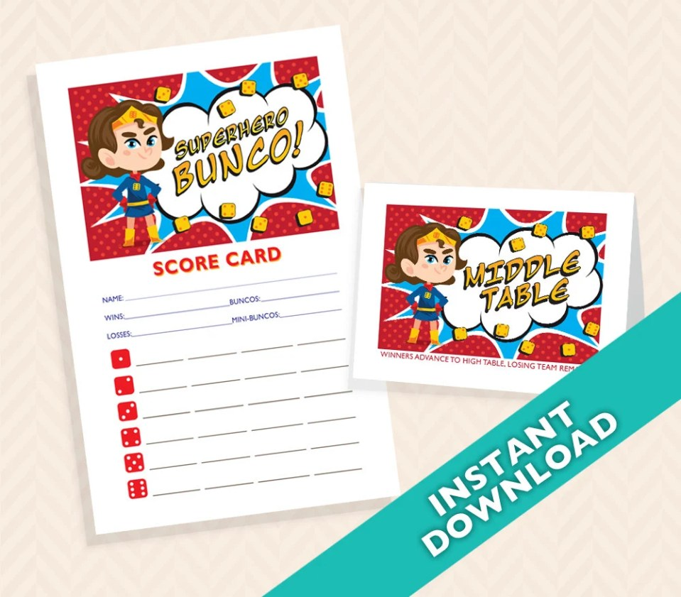Superhero Bunco Set - Comic Book Bunco Score and Table Card Set (a.k.a. Bunko, score card, score sheet)