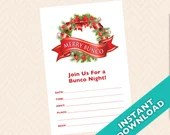 Downloadable Christmas Bunco Invitation - Merry Bunco (a.k.a. Bunko, score card, score sheet)