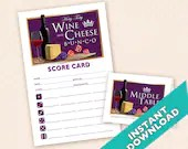 Wine and Cheese Bunco - Printable  Bunco Score and Table Card Set (a.k.a. Bunko, score card, score sheet)