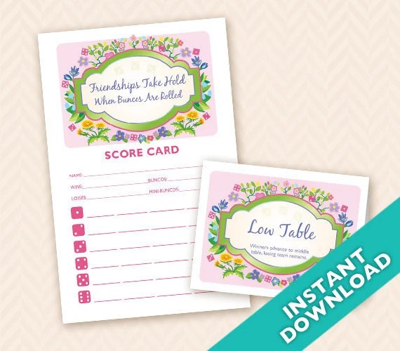 Printable Spring Garden Bunco Score and Table Card Set - Instant Download (a.k.a. Bunko, score card, score sheet)