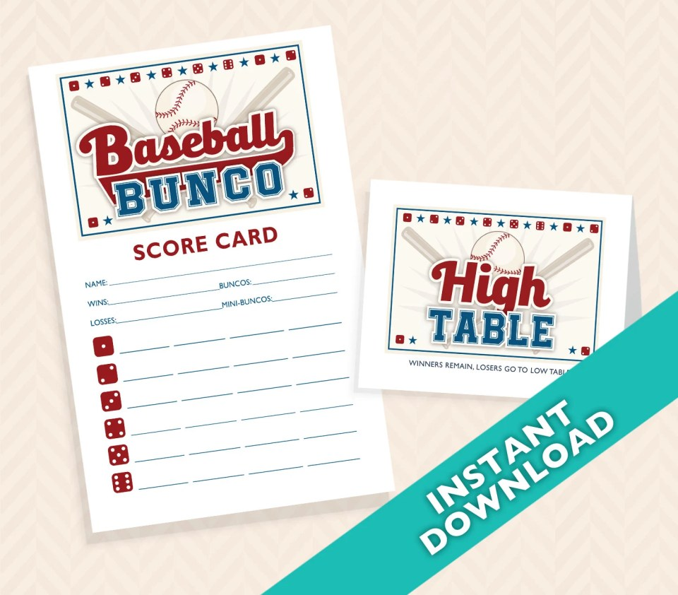 Baseball Bunco Printable Scorecard and Table marker Set (a.k.a. Bunko, score card, score sheet)