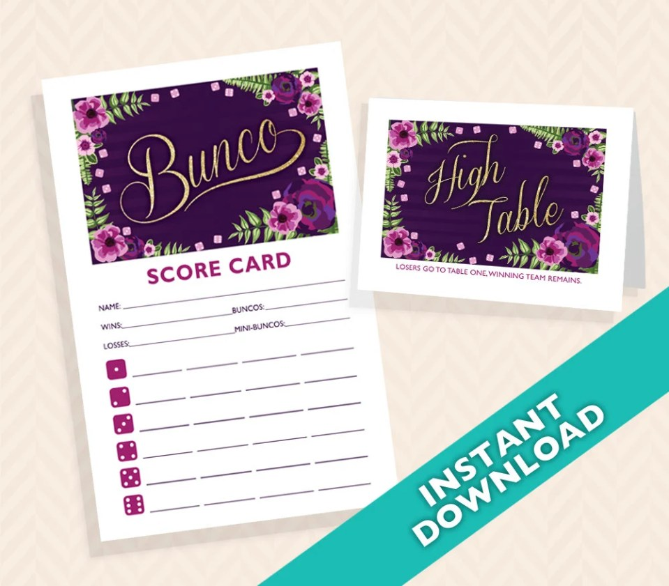 Purple and Gold Floral Bunco Scorecard and Table Card Set (a.k.a. Bunko, score card, score sheet)