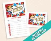 Superhero Bunco Theme Scorecard and Table Marker Set
