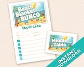 Beach Blanket Bunco Theme Scorecard and Table Marker Set
