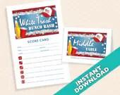 White Trash Bunco Bash -  Bunco Theme Scorecard and Table Marker Set