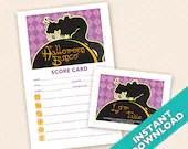 Black Cat Halloween Bunco Theme Scorecard and Table Marker Set