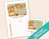 Tiki Bar Bunco Theme Scorecard and Table Marker Set