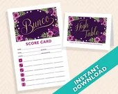 Purple and Gold Floral Bunco Theme Scorecard and Table Marker Set