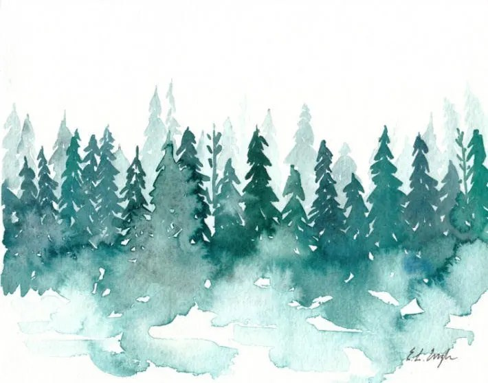 Watercolor Winter Forest Original Watercolor Painting Etsy