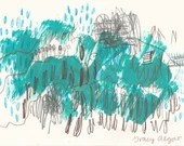 Mountain High - original mixed media art - acrylic and pencil on paper