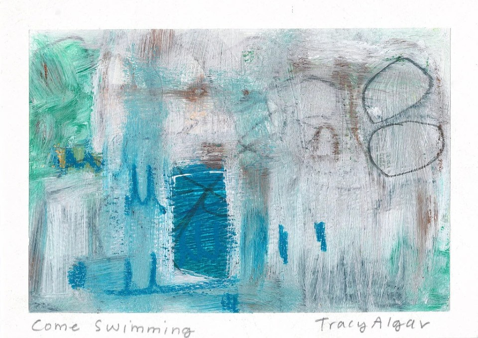 Come Swimming original abstract landscape - acrylic and mixed media - gestural abstraction - South Africa - Tracy Algar original painting