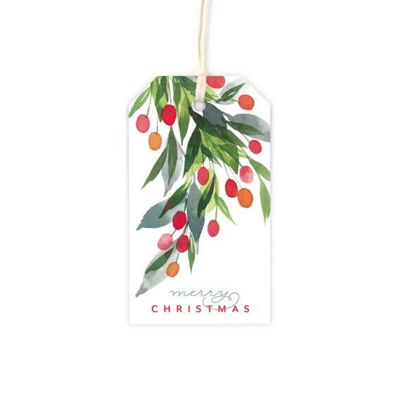 Watercolor Holly Holidays Christmas Gift Tag Set 8 Gift