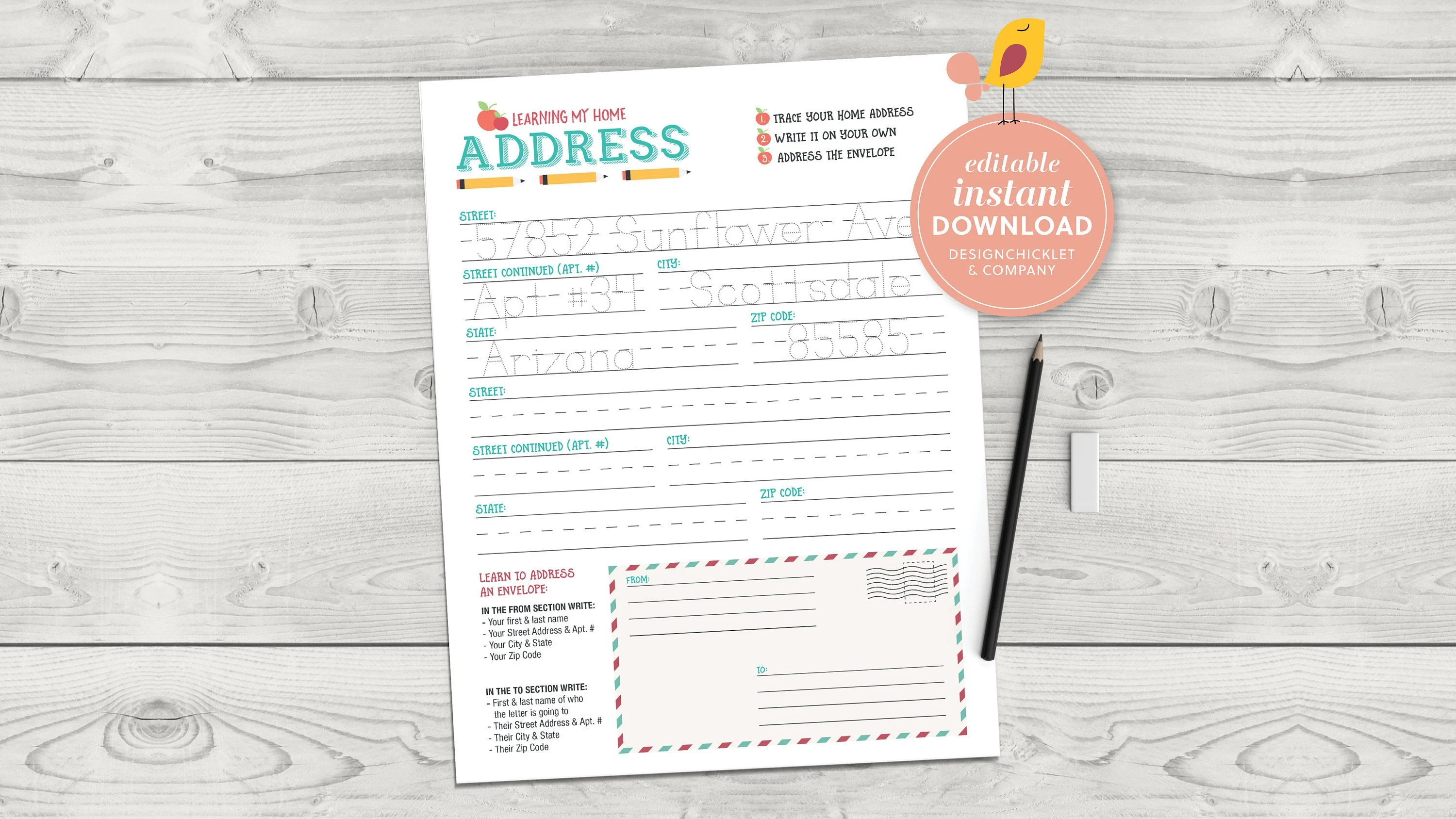 Editable Instant Download Home Address Learning Worksheet