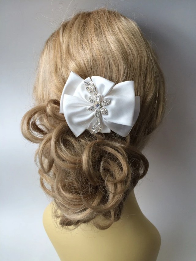 satin bow hairclip or brooch, bridal hair accessories, wedding sashes, wedding brooches, bridal hair combs, handcrafted satin bow
