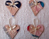 Heart Junk Journal Tags Upcycled from Cutter Quilt Remnant & Wallpaper AA79