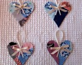 Heart Junk Journal Tags Upcycled from Cutter Quilt Remnant & Wallpaper AA77