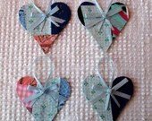 Heart Junk Journal Tags Upcycled from Cutter Quilt Remnant & Wallpaper AA78