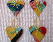 Heart Junk Journal Tags Upcycled from Cutter Quilt Remnant & Wallpaper AA81