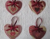 Heart Junk Journal Tags Embellishments Upcycled Fabric Wallpaper Samples AB21