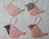 Bird Junk Journal Tags Upcycled from Cutter Quilt Remnant & Wallpaper AA91