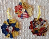 Flower Junk Journal Tags Upcycled from Cutter Quilt Remnant & Wallpaper AC00