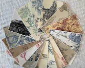 Bundle Fabric Sample Cards - 15 Pieces - Toile Designs - Junk Journals, Mixed Media, Cardmaking - EA25