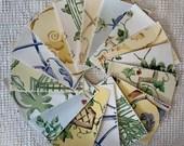 Bundle Fabric Sample Cards - 15 Pieces - Garden Designs - Junk Journals, Mixed Media, Cardmaking - EA23