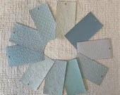 "Embossed Paint Chip Sample Bundle - 3x5.5"" - 10 Pieces- Light Blue - Cardmaking, Junk Journals, Collage, Mixed Media - PA18"