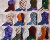 Cowboy Boot Iron On Sew On Appliques, Upcycled Modern Quilt Blocks, Set of 12  AB58