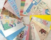 """Vintage Wrapping Paper Bundle - 23 Pieces - 5""""x7"""" - Pastels - Baby - Cardmaking, Junk Journals, Scrapbook, Collage, Mixed Media - EB05"""