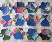 Flower IronOn SewOn Appliques Upcycled Vintage Quilt Blocks, Set of 12, AC18