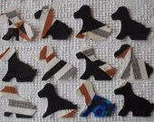Dog IronOn SewOn Appliques Upcycled Vintage Quilt Blocks, Set of 12  AC08
