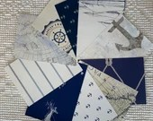 "Wallpaper Sample Bundle - 10 Pieces - 5""x7"" - Navy Blue, White - Nautical - Cardmaking, Junk Journals, Scrapbook, Mixed Media - PA72"