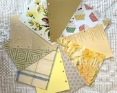 """Yellow DIY Junk Journal Kit - 5""""x7"""" - Everything to Create your Own - Pre-punched Covers & Pages, 5oz Embellishments, Binding Rings, JA15"""