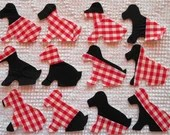 Dog IronOn SewOn Appliques Upcycled Vintage Cutter Quilt Blocks, Set of 12  AB32
