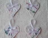 Heart Junk Journal Tags Upcycled Vintage Embroidery Linen AB03